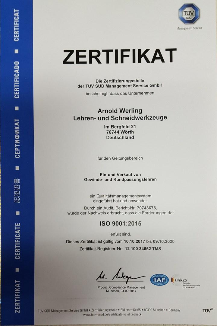 Werling-Werkzeuge - Zertifikat